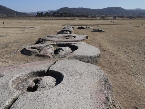 신라 최대의 국찰이었던 황룡사지의 거대한 주춧돌. 당대의 웅장한 규모를 가늠해볼 수 있다.